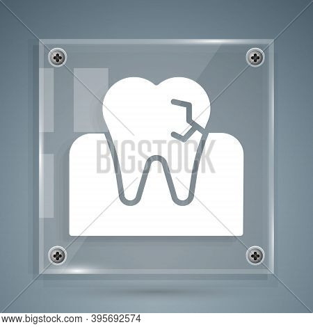 White Tooth With Caries Icon Isolated On Grey Background. Tooth Decay. Square Glass Panels. Vector