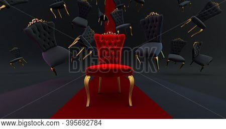 The Royal Throne In The Room With Falling Black Chair. Red Carpet Leading To The Luxurious Throne, P