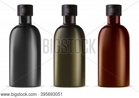 Brown Glass Medicine Bottle. Essential Oil Vial Isolated On White, Amber, Green And Black Template.
