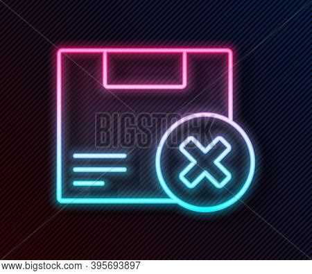Glowing Neon Line Carton Cardboard Box And Delete Icon Isolated On Black Background. Box, Package, P