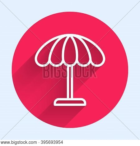 White Line Sun Protective Umbrella For Beach Icon Isolated With Long Shadow. Large Parasol For Outdo