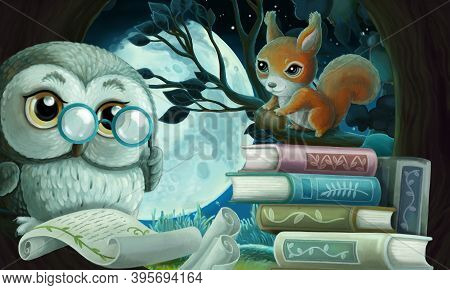 Cartoon Scene Wise Owl In Tree House Reading Books With Friends Illustration
