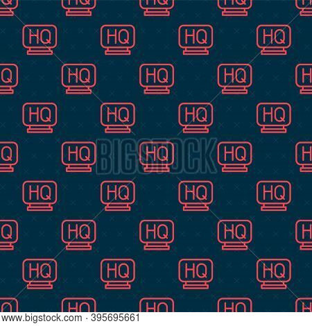 Red Line Military Headquarters Icon Isolated Seamless Pattern On Black Background. Vector