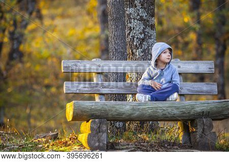 Child Boy Listening The Sound Of The Forest. Natural Reserve Garganta De Los Infiernos, Extremadura,