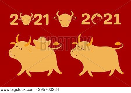 2021 Chinese New Year Elements Collection, Cute Ox, Isolated Gold On Red. Hand Drawn Flat Style Vect