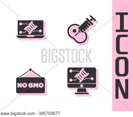 Set Genetic Engineering Modification, , No Gmo And Genetically Modified Meat Icon. Vector