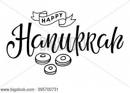 Happy Hanukkah Logotype, Badge, Icon Typography With Donuts Sketch. Calligraphy Jewish Lettering Hol
