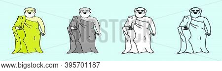 Set Of Socrates Classical Greek Philosopher Cartoon Icon Design Template With Various Models. Modern