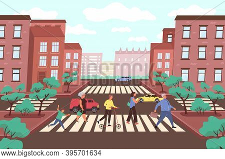 City Crossroads Flat Background With Marking On Pedestrian Crossing Cars And Park Trees Vector Illus