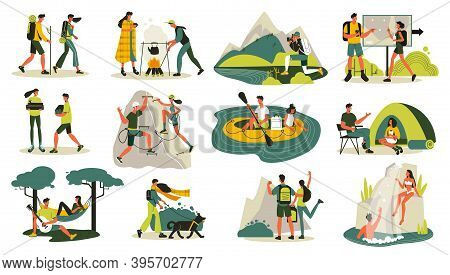 Hiking Set With Isolated Icons Doodle Characters Of Travelers Couple And Landscape Elements With Tra