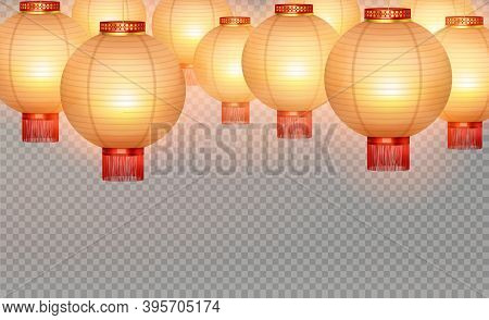 Chinese Lanterns Realistic Transparent Background With Yellow Round Air Balloon On Transparent Fond