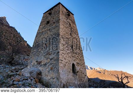 View Of Medieval Tower Fortress Abay-kala In Northern Caucasus, Russia