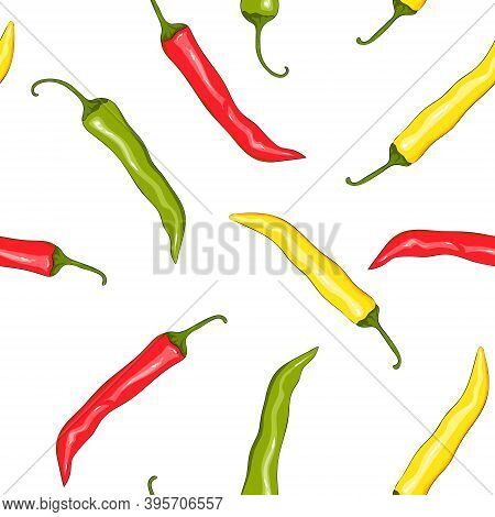 Seamless Pattern Red, Yellow And Green Chilli Pepper. Peppers Background. Hand Drawing Chilli Pepper