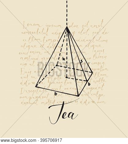 Banner With Inscription Tea And A Hand-drawn Pyramid On The Background Of Handwritten Text Lorem Ips
