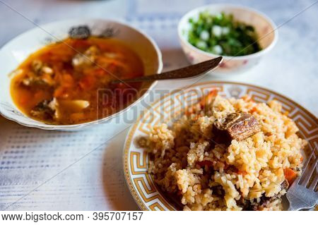 Close Up Of Chorba Soup And Pilaff In A Plate As Balkar Lunch