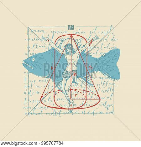 Abstract Hand-drawn Banner With Jesus Christ, Fish And Geometric Figures On The Background Of Handwr