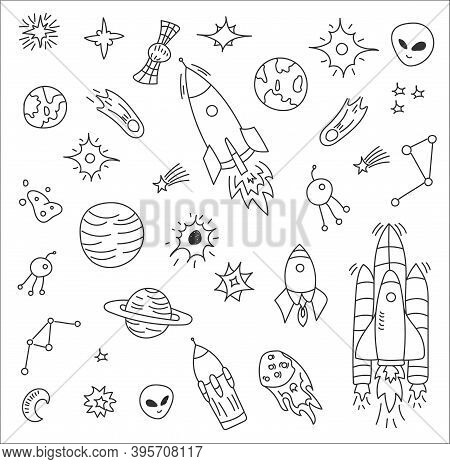 Cartoon Galaxy With Comets, Asteroids, Planets. Space Elements Flying In Zero Gravity. Astronomy. Sp