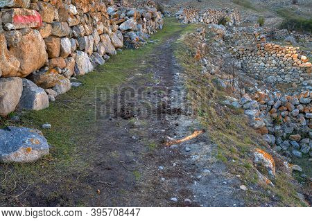 Mountain Road In Old Abandoned Balkar Village In North Caucasus