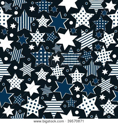 Seamless pattern background with stylized striped or dotted stars poster