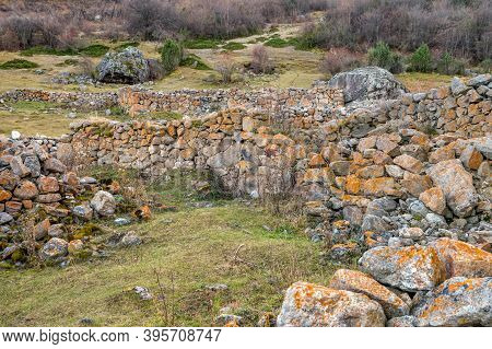 View Of Old Stones In Abandoned Balkar Village In North Caucasus