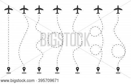 Airplane Flight Plan On A White Background. The Route Of The Aircraft In Dashed Lines, Gps. Flight S