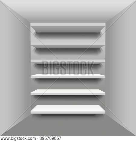 Realistic Bookshelf. Showcase. Place For An Exhibition. White Shelves From Plywood Frame In Food Sto