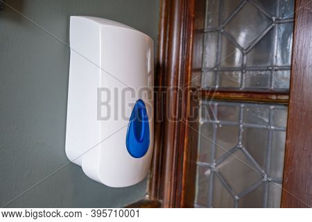 A Hand Sanitiser Dispenser At An Indoor Venue As Lockdown Eases In The Uk
