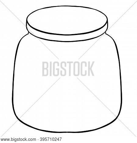 White Background, Glass Jar Contour Illustration. Simbol. Icon