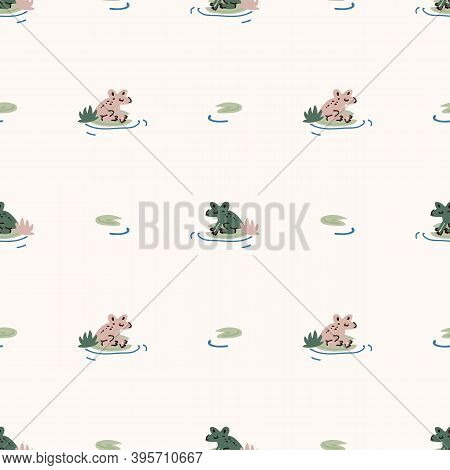 Cute Green Frog On Lily Pad Vector Pattern. Wildlife Amphibian Home Decor With Cartoon Lake Toad. Se