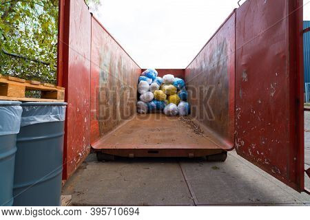 Large Metal Sea Container With Plastic Waste
