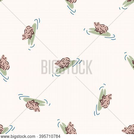 Cute Frog On Lily Pad Vector Pattern. Wildlife Amphibian Home Decor With Cartoon Lake Toad. Seamless