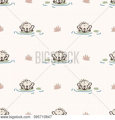 Cute Pond Frog On Lily Pad Vector Pattern. Wildlife Amphibian Home Decor With Cartoon Lake Toad. Sea