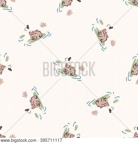 Cute Frog With Lily Pad And Fly Vector Pattern. Wildlife Pond Amphibian Home Decor With Cartoon Lake
