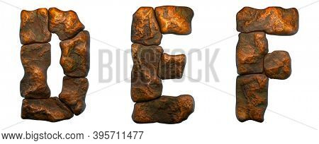 Set of rocky letters D, E, F. Font of stone on white background. 3d rendering