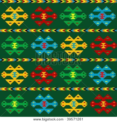 Green carpet with ethnic motifs isolated over green background poster