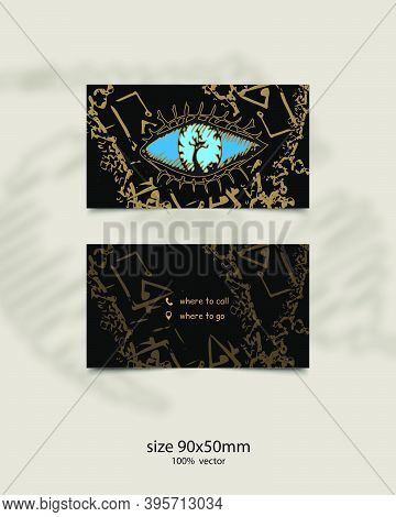 Mystical Business Card Template. Abstract Blue Eye