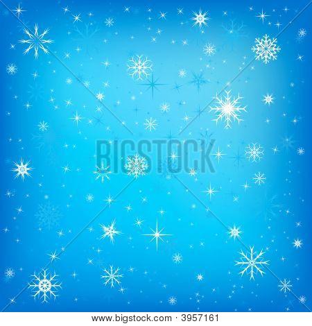 Xmas stars snow