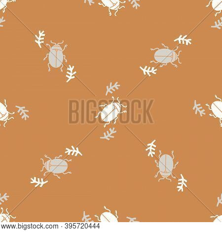 Seamless Background Bug Insect Gender Neutral Pattern. Whimsical Minimal Earthy 2 Tone Color. Kids N