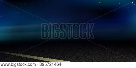 Night Road, Highway Under The Open Starry Sky. Texture Suburban Asphalt Way, Route. Vector Illustrat