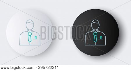 Line Businessman Or Stock Market Trader Icon Isolated On Grey Background. Colorful Outline Concept.