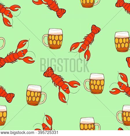 Light Beer With Shellfish Snacks. Hand Drawn Cartoon Style Illustration. Seamless Pattern Glass Cup.
