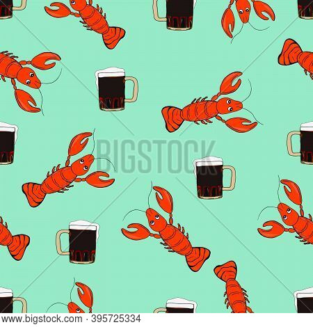 Beer With Shellfish Snacks. Hand Drawn Cartoon Style Illustration. Seamless Pattern With Lobsters An