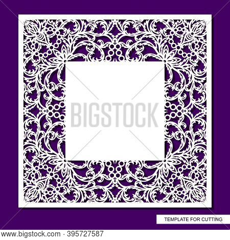 Square Frame With Place For Text. Card, Wedding Invitation Blank, Certificate. Openwork Lace Pattern