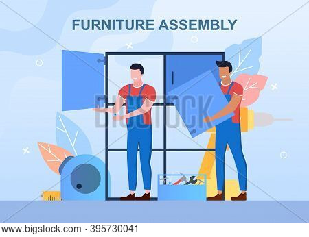 Wood Furniture Assembly. Professional Workers Assembling Closet. Home Furniture Construction. Cartoo