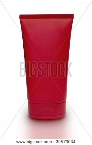 Red Tube On White Background With Clipping Path