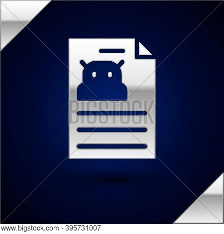 Silver Technical Specification Icon Isolated On Dark Blue Background. Technical Support Check List,