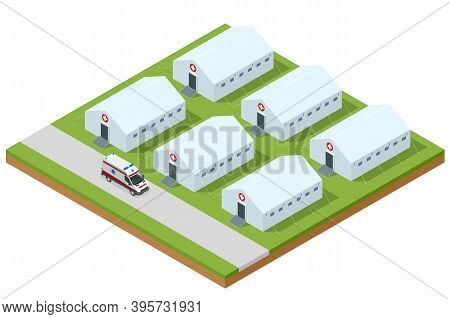 Isometric Hospital Field Tent For The First Aid And Ambulance, A Mobile Medical Unit For Patient Wit
