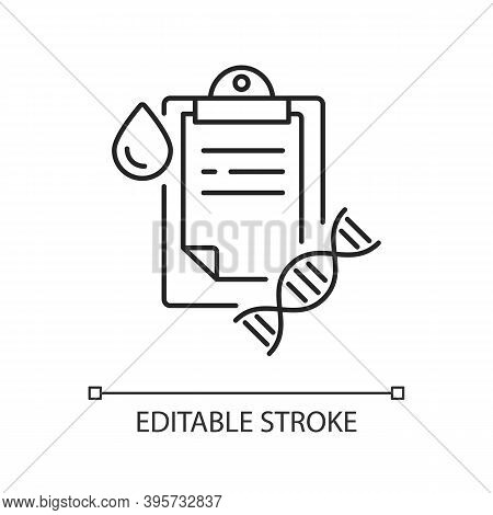 Dna Test Linear Icon. Genetic Determination. Clipboard With Medical Research Result. Blood Exam. Thi