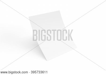 Curved Sheet Of Paper Mockup Isolated On White Background - 3d Render