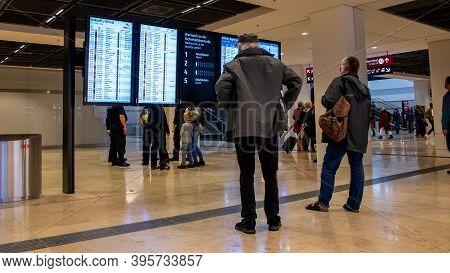 Schönefeld, Germany - November 1, 2020 - Passengers At Berlin Brandenburg Airport (ber) Stand In Fro
